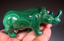 "2.8"" Natural Green Malachite Rhino Rhinoceros Crystal Carving Gemstone *0751"