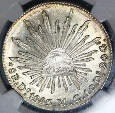 1883-Do NGC MS 62 Mexco 8 Reales Durango Mint Lustrous Silver Coin (20011002C)