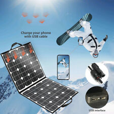 100W 18V Folding Solar Panel Dual USB Battery Charger For iPhone Tablets Laptop