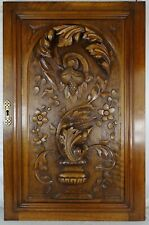 "29.5"" Large French Antique Architectural Carved Solid Walnut Wood Door Panel"