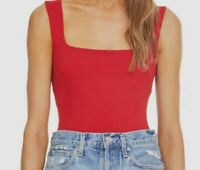 New $155 Astr Women's Red Stretch Square-Neck Sleeveless Casual Bodysuit Size M