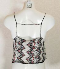 ASOS cute black white floral Backless strappy crochet hem Cropped top Cami sz 12