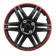 Radkappen 13 Zoll Schwarz Rot Universal 4 Stück Radzierblenden ABS Radblenden