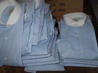 MEN'S WING TIP TUXEDO SHIRT SKY BLUE WITH WHITE TIP COLLAR WEDDING PROM CRUISE