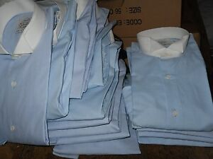 CLEARANCE SALE NOW  £4.99 MEN'S WING TIP TUXEDO SHIRT SKY BLUE WHITE TIP COLLAR