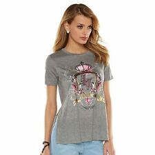 NWT JUICY COUTURE  High Low Graphic T-Shirt Color Gray L