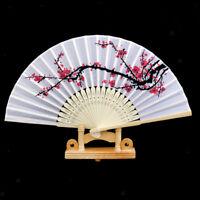 Wedding Chinese Party Wood Wooden Plum Folding Hand Summer Fan Decor Gift