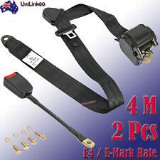 2X 4M Universal 3 Point Retractable Auto Car Safty Seat Lap Belts Adjustable E4