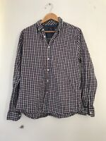 Mens Shirt F&F L Blue Check <JJ7387z