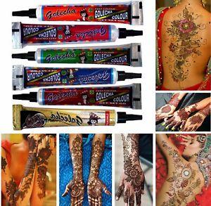 6x Golecha Henna Tuben für Mehndi Tattoo - 6 Farben - Klinisch getestet - 150g