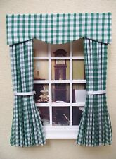 MINIATURE DOLL HOUSE CURTAINS WITH PELMET AND TIES GREEN GINGHAM 4 3/4 IN