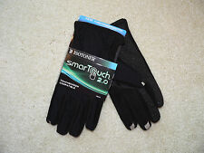New Men's Isotoner Black SmarTouch 2.0 Touchscreen Compatible Gloves  Retail $45