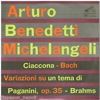 "Art.benedetti Michelangeli: Bach;Chaconne,Brahms ; Variations Paganini - LP 10 """
