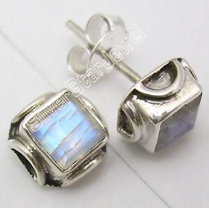 Low Bid ! 925 Solid Silver BLUE FIRE RAINBOW MOONSTONE SHOP Studs Earrings .7 CM