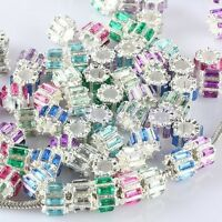 COLORFUL AUSTRIAN CRYSTAL CYLINDER GEAR COLUMN CHARM BEADS FINDINGS FIT BRACELET