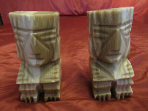 2-Vintage Carved Aztec Mayan Tiki Stone Bookends Onyx Marble STATUE SCULPTURES