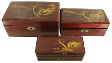 Antique Japanese Lacquered Trinket Box Set Red Gold Hand Painted