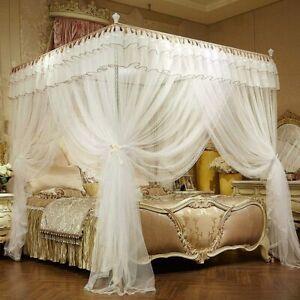 JQWUPUP Luxury Bed Curtains Canopy, Ruffle Tassel 4 Corner Post Mosquito Net, Be