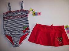 AL & Ray Swimsuit/Swimwear Girls Two-Piece Sz 4 Red White Blu Strawberries New
