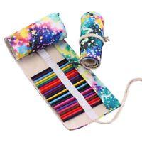 1X(48 Colored Pencils Wrap Travel Roll Up Case Organizer Watercolor Pencil T0D8
