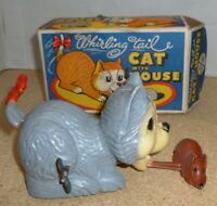 marx whirling tail cat with mouse - boxed - rare