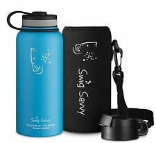 Swig Savvy 32oz Stainless Steel Vacuum Insulated Water Bottle Wide Mouth Blue