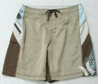 """Hurley Swimming Board Shorts Trunks Beige Brown 36"""" X 10"""" Polyester Man's Men's"""