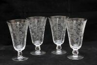 Vintage Etched Footed Glass Set of 4 Stemware Parfait, Champagne Cocktail, Beer