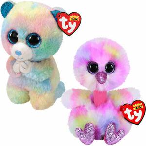 Ty Beanie Boos Regular Plush Animals Value Pack: Hope Bear + Avery Ostrich