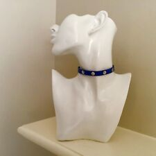 Tory Burch Signature Silver Studded Blue Leather Choker Necklace/Bracelet