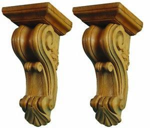 Regency Kitchen Wooden Corbels, Pair of Range Hood Brackets Carved Pine, PG337