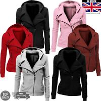 Women Ladies Casual Oblique Zipper Fleece Hoodie Sweatshirt Biker Hooded Jacket