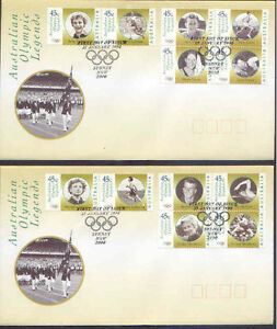Australia 1998 OLYMPIC LEGENDS (12) on TWO FDCs SPECIAL POSTMARKS SG 1731-42