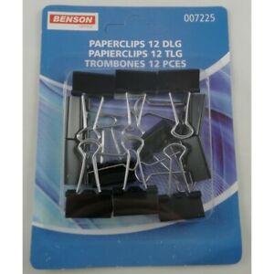 12 Pinces Clip Document Feuille de Papier Paperclip Fourniture Scolaire Bureau