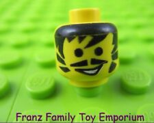 LEGO Minifigure HEAD Black Bangs Pointed Moustache Open Grin Body Part #H45