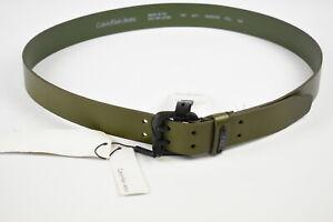 CALVIN KLEIN JEANS 832 FATIGUE Unisex 100 CM Khaki Leather Belt 38539-GS