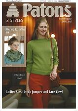 VAT Free Knitting PATTERN ONLY Patons DK Ladies Jumper & Lace Cowl 3943 New