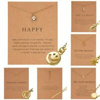 Charm Smiley Sun Necklace Pendant Clavicle Chains Choker Card Women Jewelry Gift