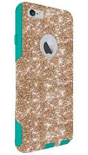 "Otterbox Case Customized Glitter For 5.5"" iPhone 6/6s Plus Gold/Teal Sparkly Fun"