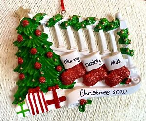 Personalised Family of 3 Christmas Stockings On The Stairs Tree Decoration