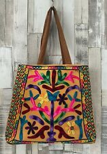 Boutique Brown Embroidered Tote Bag Boho Hippie Style