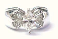 Fine Marquise Baguette & Trillion Cut Diamond Engagement White Gold Ring 1.00CT