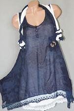 Sommer Tunika Kleid Batik Spitze Baumwolle Weiß Blau Lagen M L XL 38 40 42 ITALY