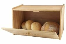 RUBBER WOOD WOODEN CARVED DROP BREAD BIN COUNTER STORAGE BOX