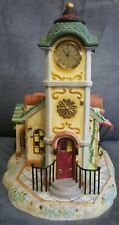 PartyLite Olde World Village 4 Clock Tower - Porcelain Bisque - Owv Quartz Clock