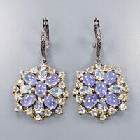 Tanzanite Earrings Silver 925 Sterling Handmade Jewelry  /E41006