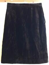 Vintage Black Skirt Creased Crushed Velvet Lined Pencil Skirt Size 14
