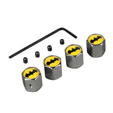 4x Batman Logo Auto Car Wheel Tyre Valve Stem Air Dust Anti-Theft Locking Caps