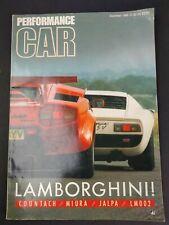 Performance Car Magazine December 1986 Lamborghini Cover