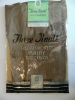 """Fully Fashioned Rayon Stockings Brown Size Medium 9.5 """"Three Knots Brand"""" 1930's"""